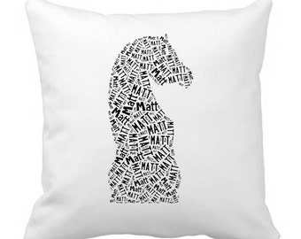 Personalized Chess Board Piece Pillow Cover Room Decor Girls Boys Gift Monogram