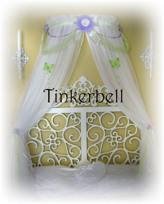 Princess Bed Canopy Girl Crown Pelmet Upholstered Awning: CUSTOM Boutique Bed Canopy Disney PRINCESS Lavender Fairy