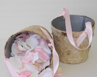"Flower Girl Basket + Birch Flower Girl Basket with Ribbon Handle (5""T x 5""W)"