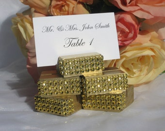 Place Card Holder + Gold wedding place card holders trimmed with a gold crystal wrap -Set of 100
