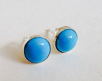 Sleeping Beauty Turquoise Handmade Sterling Silver Stud Post Earrings 8mm
