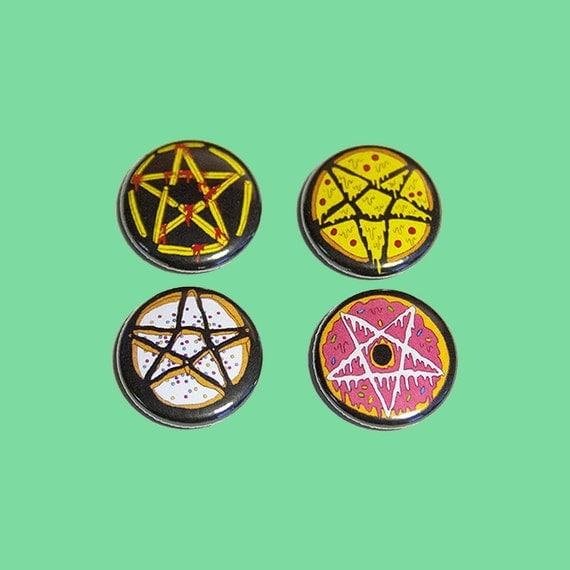 junk food pentagrams | 1 inch pins