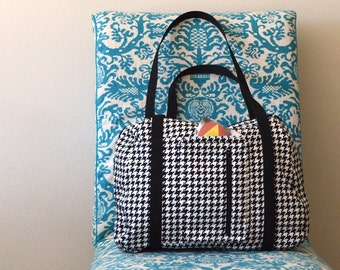 Houndstooth Departure Satchel Carry on Travel Bag Made to Order