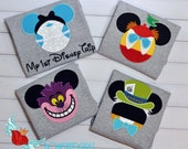 Wonderland - inspired - Mouse- Ears- Shirt - Personalized - Applique -  Mickey -  Embroidery -   T-shirt - Wonderland - Minnie Mouse