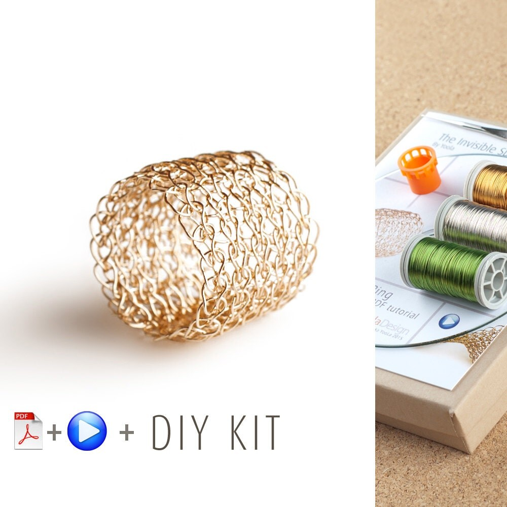 Crochet Patterns Kits : Ring Pattern DIY Kit Crochet Ring Jewelry Making KIT by Yoola
