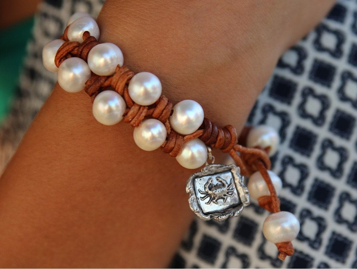 pearl and leather bracelet knotted leather bracelet knotted. Black Bedroom Furniture Sets. Home Design Ideas