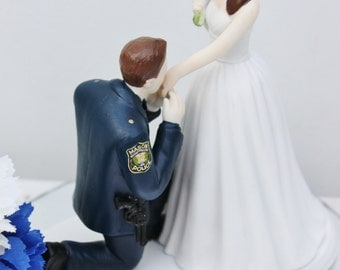 Police Officer COP Sheriff  wedding cake topper KNEEL porcelain gun law enforcement YOUR Patch