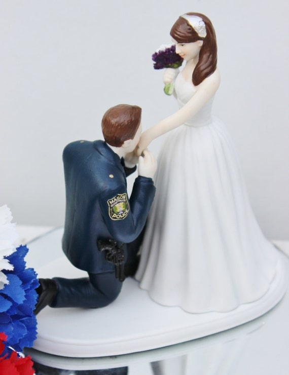 police officer wedding cake topper officer cop sheriff wedding cake topper kneel 18672