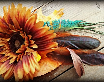 Gold and Peacock - ATS or Tribal Fusion Belly Dance Hair Clip