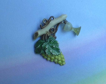 Vintage 30s Tiny Celluloid Grapes Pin with Wine Goblet