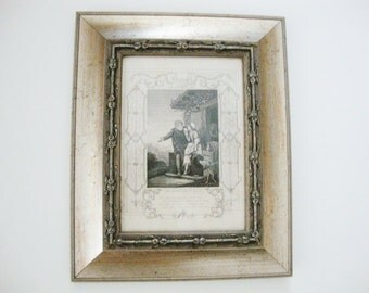 vintage print biblical religious theme silver frame departure of hagar