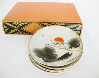 4 vintage japanese porcelain dishes flying cranes and pine