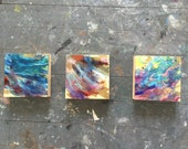 RESERVED for Jen -TRIO of Modern Square Contemporary Tiny Paintings Expressionist Abstract Blue Green and Violet Purple Water w/ Gold by Chr