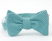 blue seersucker bow tie for the little guy