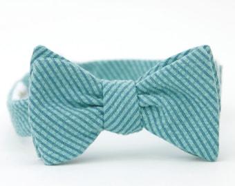 blue seersucker bow tie for the little guy