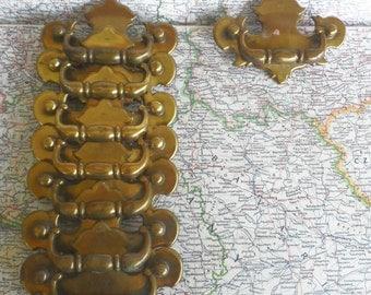 SALE! 8 vintage distressed brass metal curvy pull handles*
