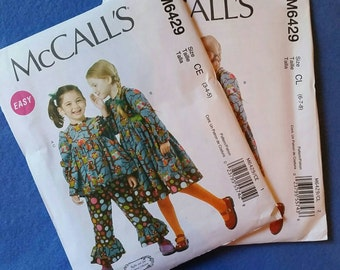 Uncut McCall's Girls Top, Dress, and Pants Pattern M6429 - size 3-4-5 (size CE)