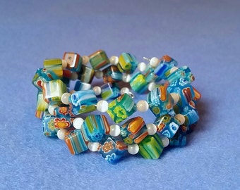 Turquoise Millefiori Glass Wrap Bracelet - Cubes and Cats Eye Glass Beads