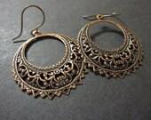 Copper Hoop Earrings, Boho Earrings, Gypsy Earrings, Hoop Earrings, Copper Filigree, Round, Bohemian, Statement Earrings, Morrocan, Ethnic