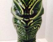 """Vintage Orchids Of Hawaii, Green Headhunter Mug, R-1 Japan, 7.5"""" Tall, Tiki, Hawaiian"""
