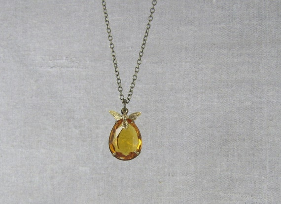 Topaz Glass Jewel And Honeybee Necklace Bee And Honey Jewelry