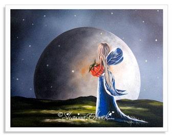 fairytale art prints, wall decor, whimsical, fantasy, surreal, big bright moon, fairy art, faery art, signed, pretty sky, starry night