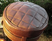 Leather Kufi Hat in Brown with Adjustable Belt/ Quilted Top