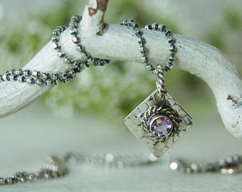AAA Amethyst Pendant Oxidized Sterling Silver Purple Gemstone Necklace