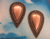 Copper Ox Plated Brass Tear Drop Ornamental Stampings  253COP x2