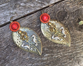 Fantasy Pirate Gypsy Boho Brass Leaf Octopus and Seahorse Earrings with Red Rhinestones
