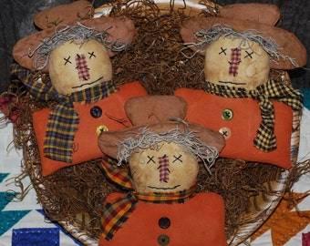 EPATTERN -- Primitive Autumn Fall Orange Shirt Scarecrow Tucks Ornies Bowl Fillers