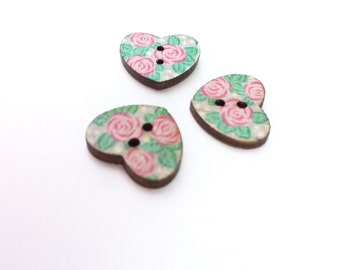 Heart Wood Buttons, Pink Rose Floral Print Flat Back, 4 Hole, 1/2 Inch-15mm  Small