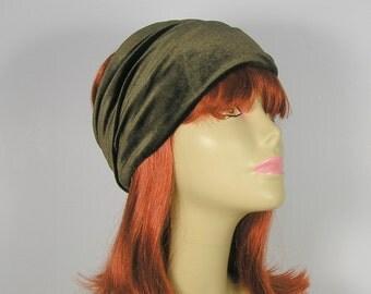 Army Green Velvet Head Wrap Khaki Green Head Wrap Flapper Head Wrap Womens Head Wraps Velvet Headwraps Hippie Head Wraps Boho Head Wraps