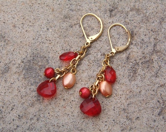 Earrings, Vintage Dangle Red and Peach Earrings