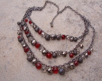 Necklace, Vintage Gun Metal Gray Chain with Crystal Gray and Red Beads