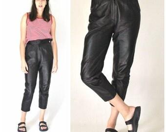 black LEATHER trousers vintage 80s 90s MINIMALIST high waisted PLEATED leather pants 25 26