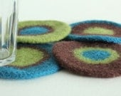 Coasters - Hand-knit Felted Wool - Turquoise, Brown, Green