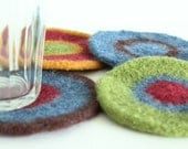Coasters - Hand-Knit Felted Wool - Cranberry, Green, Brown, Gold, Blue - 1