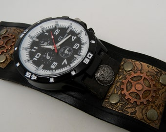 Steampunk wrist watch.Steampunk watch.Steampunk men watch.