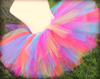 Rainbow Cake Smash Outfit Girl Tutu, 1st Birthday Outfit Girl Tutu, First Birthday Outfit Girl Tutu, Rainbow Birthday Tutu Skirt Tulle Skirt