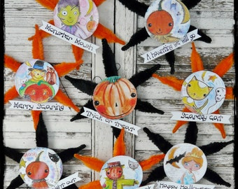 Halloween ornaments pattern - banners Collage art Sheets PDF chenille stem watercolor pumpkin