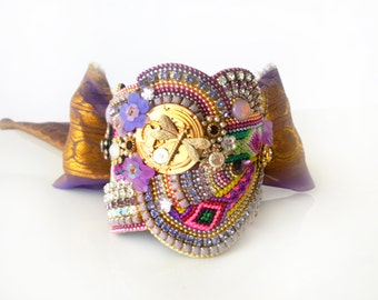 STATEMENT FRIENDSHIP CUFF - Hayworth - one of a kind bracelet - vintage Indian sari ribbon - glamorous collage cuff - purple and gold
