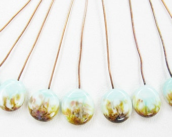Nine Handmade Glass Lampwork Headpins on Copper Wire - Pale Green with Fritz