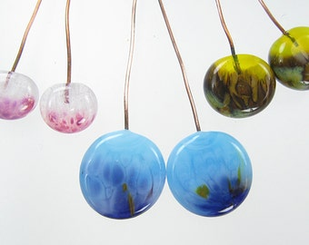 Handmade Glass Lampwork Headpins Three Matched Pairs - Blue Yellow and Pink