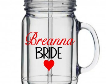 Personalized Wedding Party Tumbler Decals,Custom Bridal Party Tumbler Decals, Wedding Wine Glass, Cups NOT Included