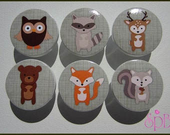 Woodland Drawer Knobs • Forest Animal Knobs • Drawer Pulls • Woodland • Kids Woodland Knobs • Fox • Bear • Owl Knobs