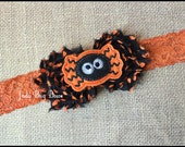Spider Headband, Orange Lace Headband, Halloween Headband, Fall Flower Headband, Holiday Headband, Girls Spider Headband, Spooky Spider