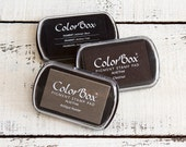 ColorBox Archival Pigment Ink Pads Stamp Pads - Black Antique Pewter Grey Chestnut Brown - Standard Size