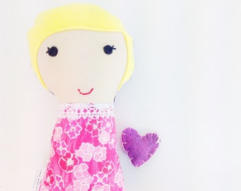 Ready to Ship - Mini Dollie - Small Fabric Doll - Cloth Stuffed Doll -  - Blond Yellow Haired Girl - Pink Dress