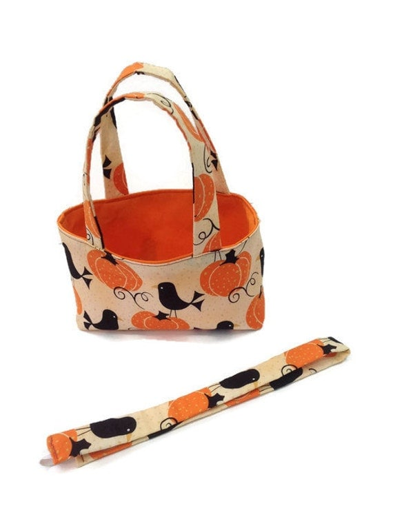 Crows in the Pumpkin Patch Teeny Tote with Matching Headband Harvest Gift Set